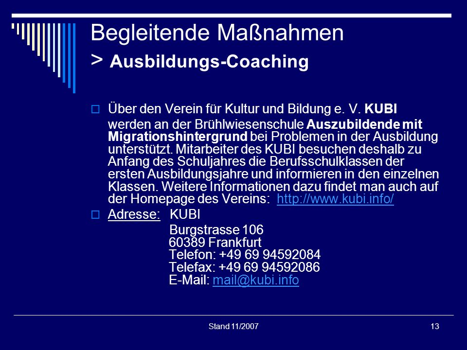 Begleitende Maßnahmen > Ausbildungs-Coaching