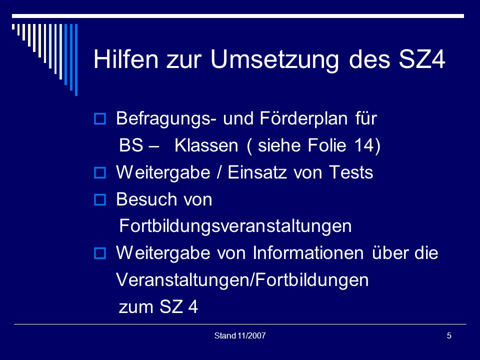 Hilfen zur Umsetzung des SZ4