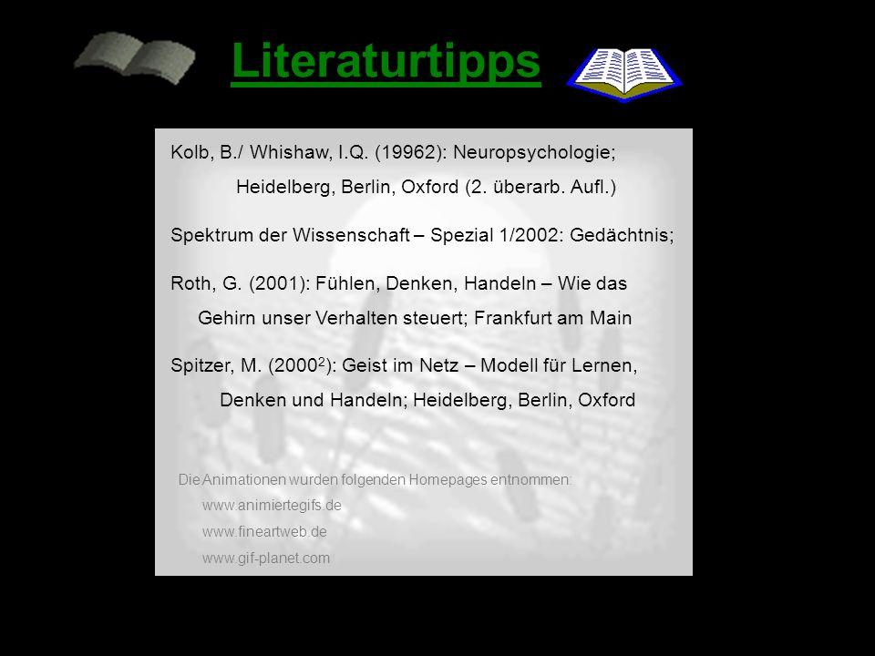 Literaturtipps Kolb, B./ Whishaw, I.Q. (19962): Neuropsychologie;