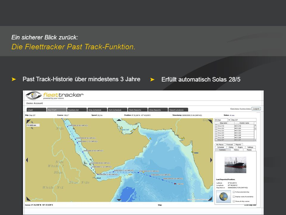 Die Fleettracker Past Track-Funktion.
