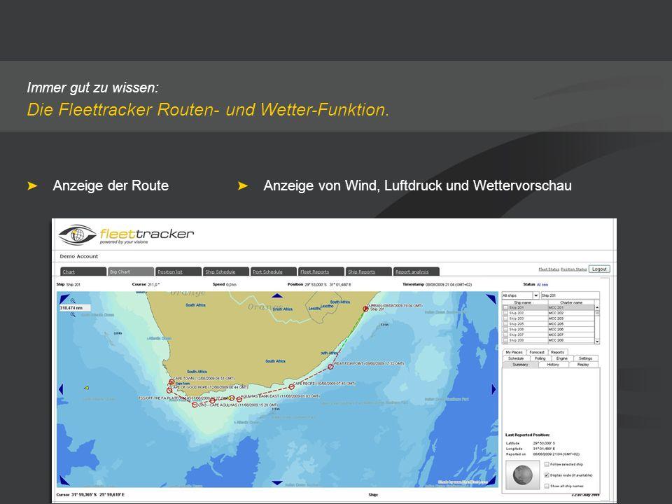 Die Fleettracker Routen- und Wetter-Funktion.