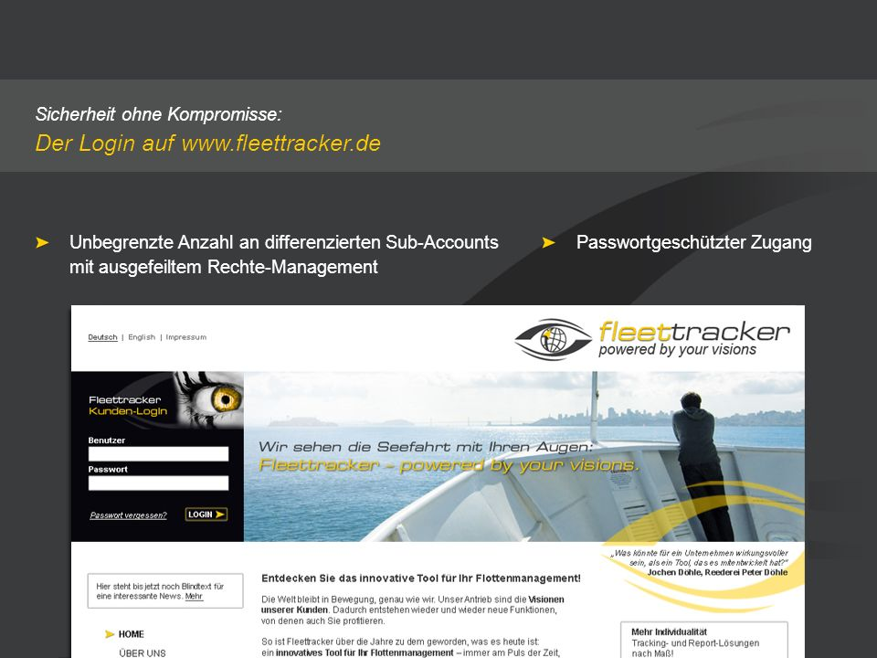 Der Login auf www.fleettracker.de