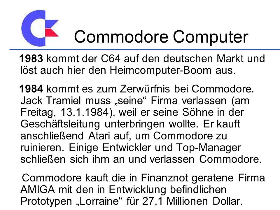 Commodore Computer 1983 kommt der C64 auf den deutschen Markt und löst auch hier den Heimcomputer-Boom aus.