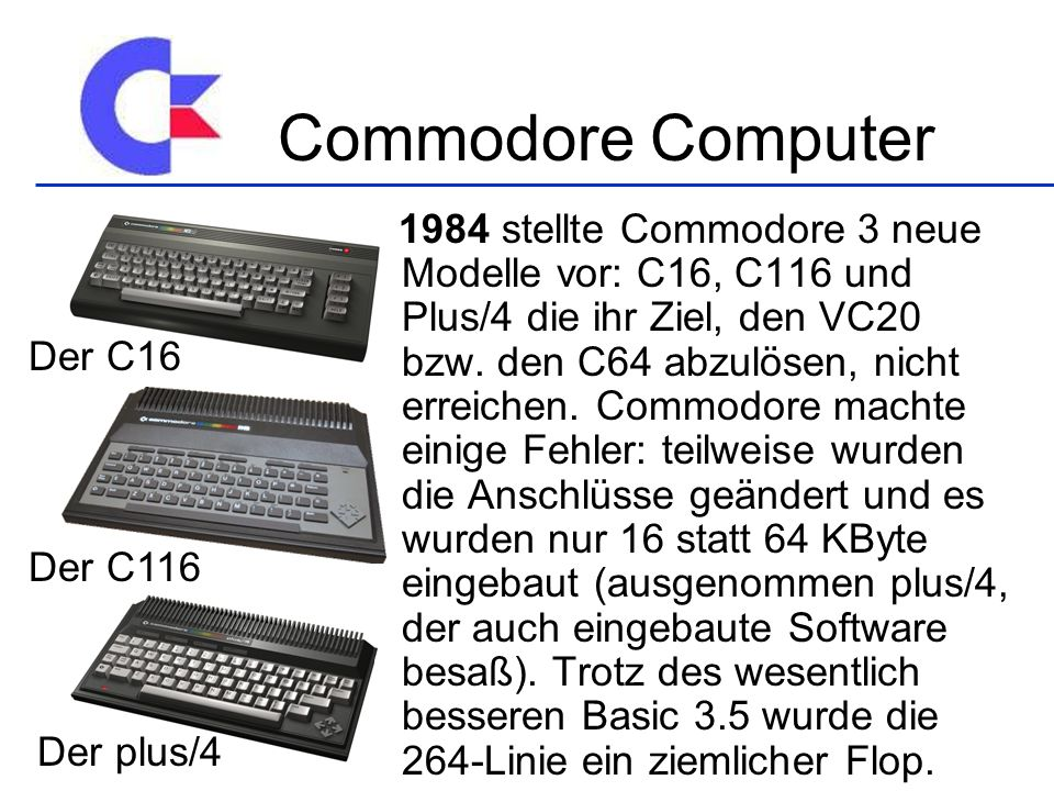 Commodore Computer Der C16 Der C116 Der plus/4