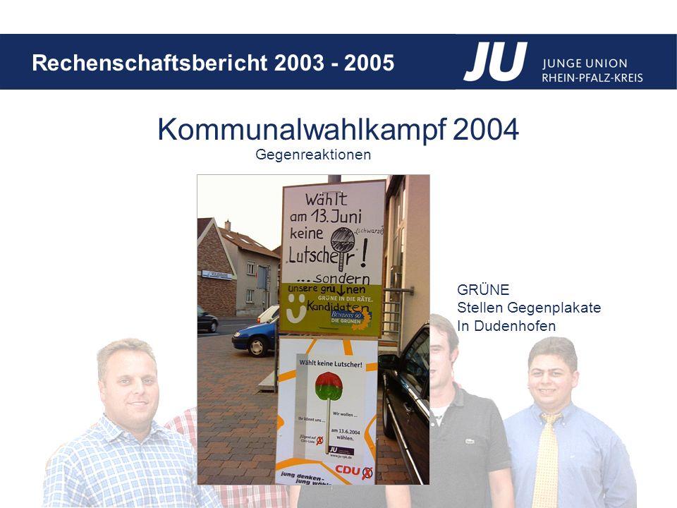 Kommunalwahlkampf 2004 Gegenreaktionen GRÜNE Stellen Gegenplakate