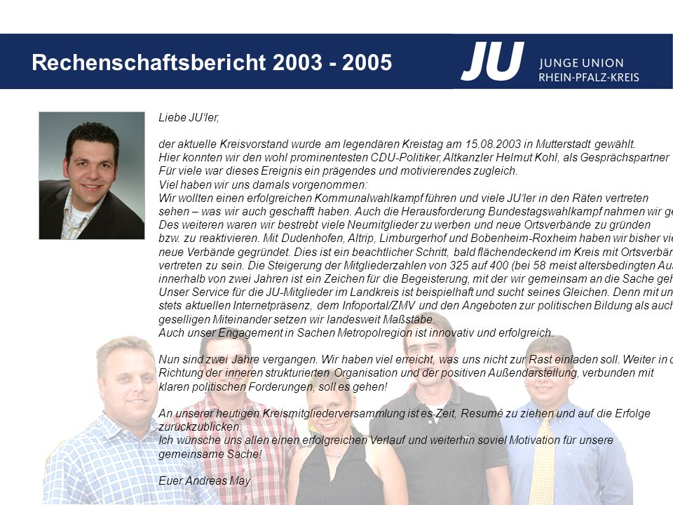 Liebe JU'ler, der aktuelle Kreisvorstand wurde am legendären Kreistag am 15.08.2003 in Mutterstadt gewählt.