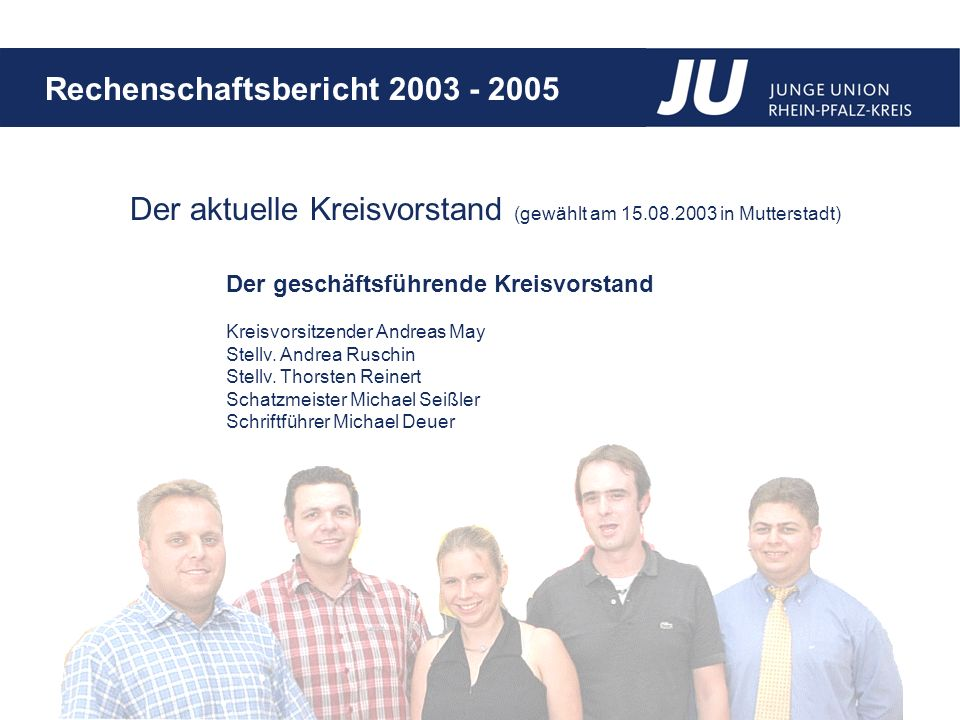 Der aktuelle Kreisvorstand (gewählt am 15.08.2003 in Mutterstadt)