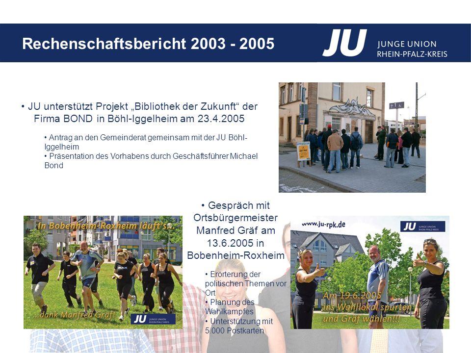 "JU unterstützt Projekt ""Bibliothek der Zukunft der Firma BOND in Böhl-Iggelheim am 23.4.2005"