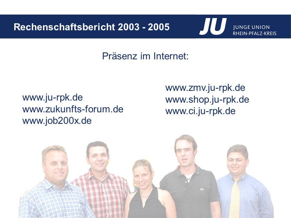 Präsenz im Internet: www.zmv.ju-rpk.de. www.shop.ju-rpk.de. www.ci.ju-rpk.de. www.ju-rpk.de. www.zukunfts-forum.de.