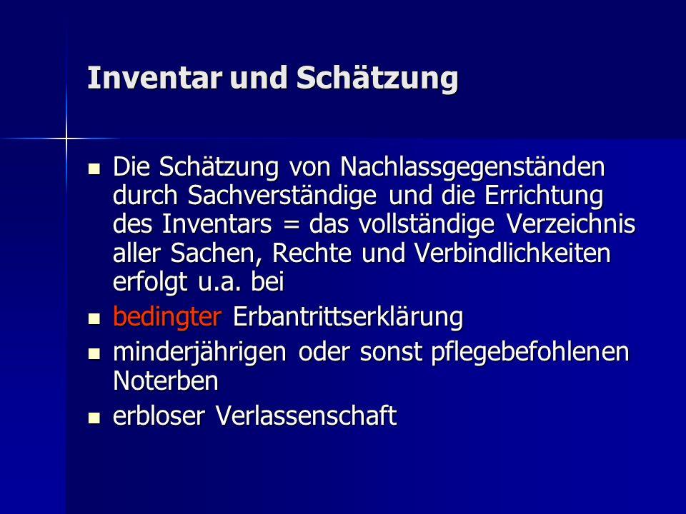 Inventar und Schätzung