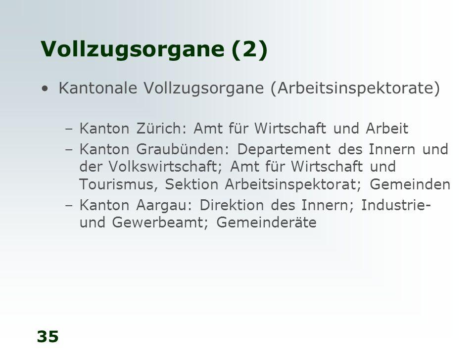 Vollzugsorgane (2) Kantonale Vollzugsorgane (Arbeitsinspektorate)