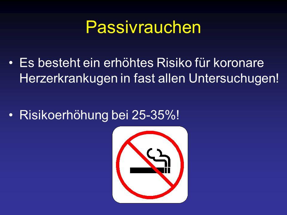 Passivrauchen Es besteht ein erhöhtes Risiko für koronare Herzerkrankugen in fast allen Untersuchugen!