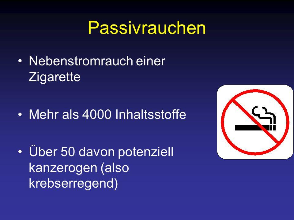 Passivrauchen Nebenstromrauch einer Zigarette