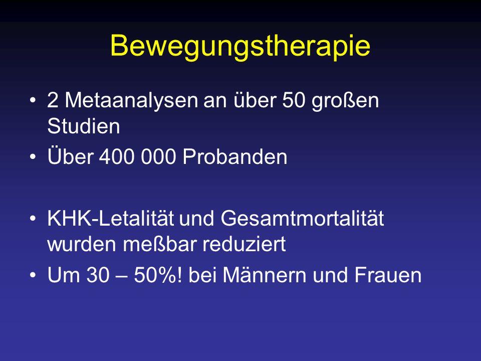 Bewegungstherapie 2 Metaanalysen an über 50 großen Studien