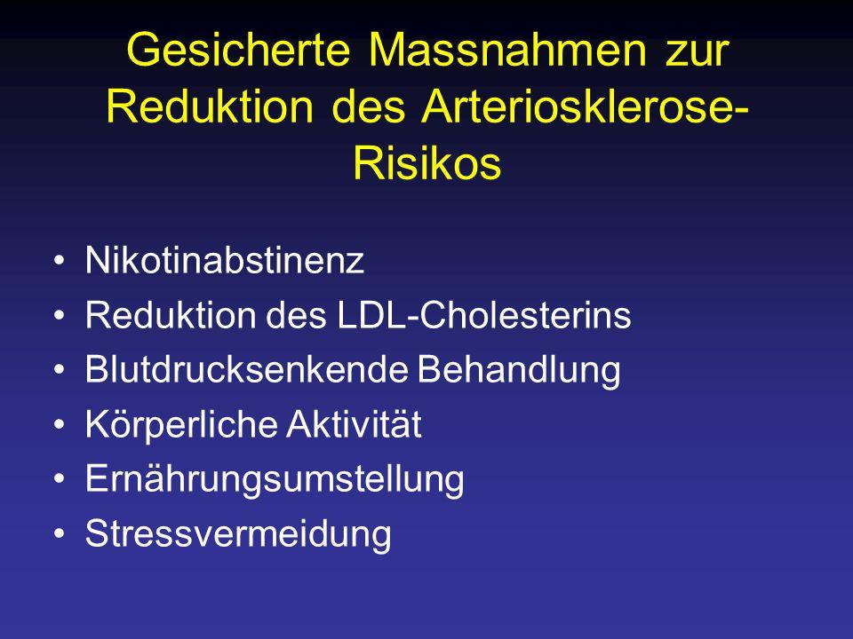 Gesicherte Massnahmen zur Reduktion des Arteriosklerose-Risikos