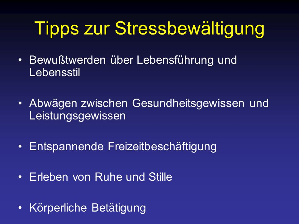 Tipps zur Stressbewältigung
