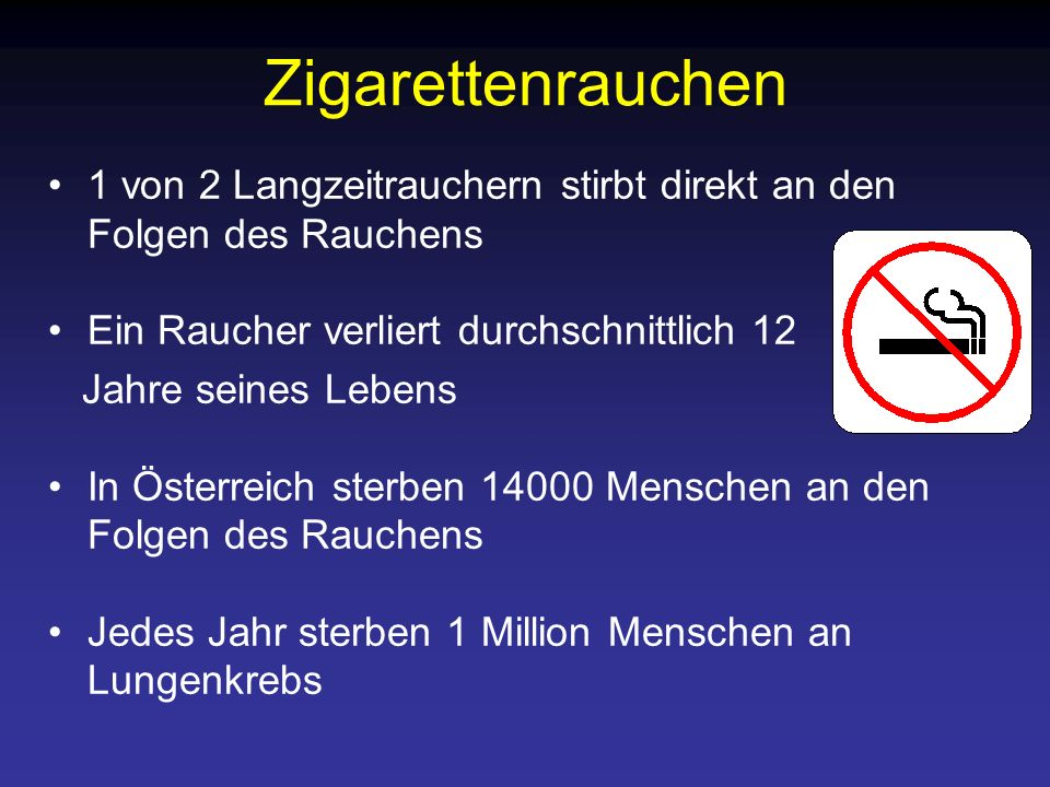 Zigarettenrauchen 1 von 2 Langzeitrauchern stirbt direkt an den Folgen des Rauchens. Ein Raucher verliert durchschnittlich 12.