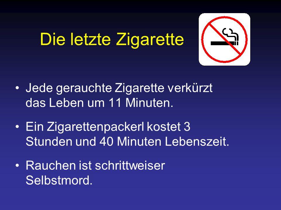 Die letzte Zigarette Jede gerauchte Zigarette verkürzt das Leben um 11 Minuten. Ein Zigarettenpackerl kostet 3 Stunden und 40 Minuten Lebenszeit.
