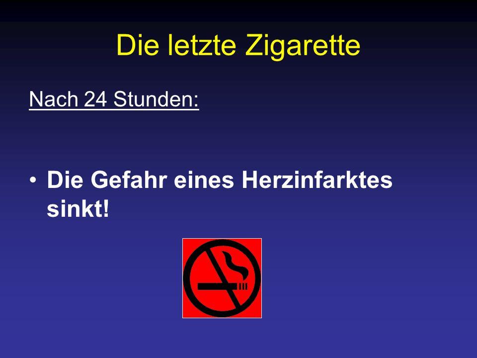 Die letzte Zigarette Die Gefahr eines Herzinfarktes sinkt!