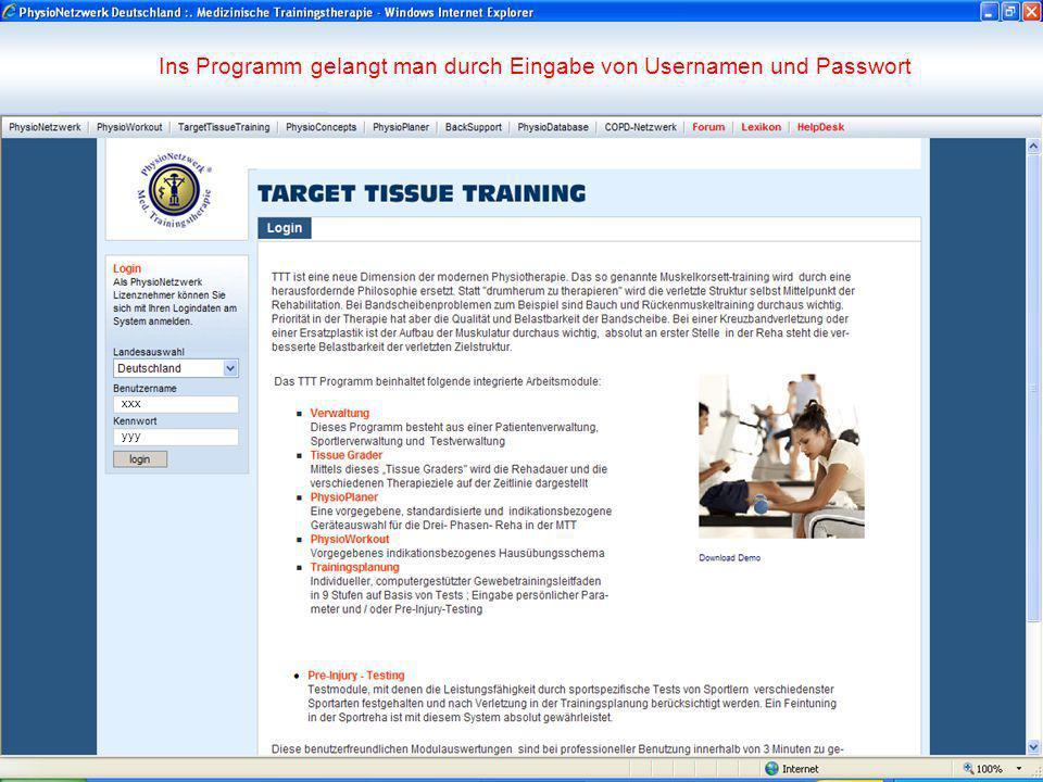 Ins Programm gelangt man durch Eingabe von Usernamen und Passwort