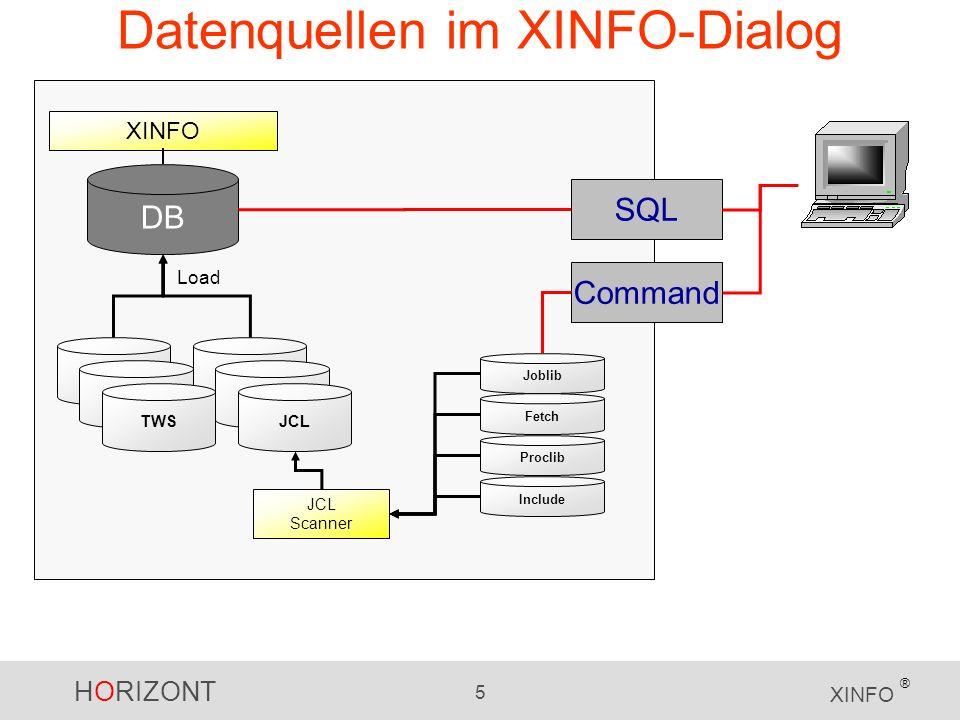 Datenquellen im XINFO-Dialog