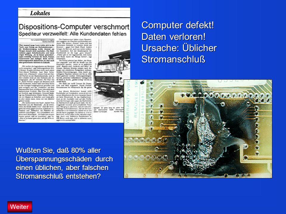 Computer defekt! Daten verloren! Ursache: Üblicher Stromanschluß