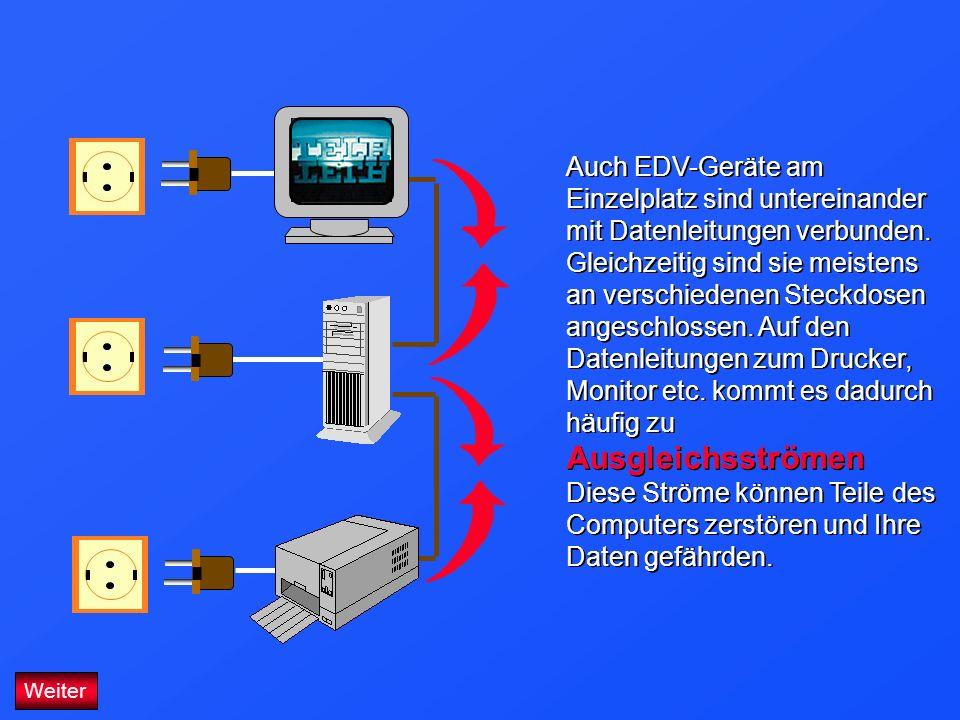 Auch EDV-Geräte am Einzelplatz sind untereinander mit Datenleitungen verbunden. Gleichzeitig sind sie meistens an verschiedenen Steckdosen angeschlossen. Auf den Datenleitungen zum Drucker, Monitor etc. kommt es dadurch häufig zu