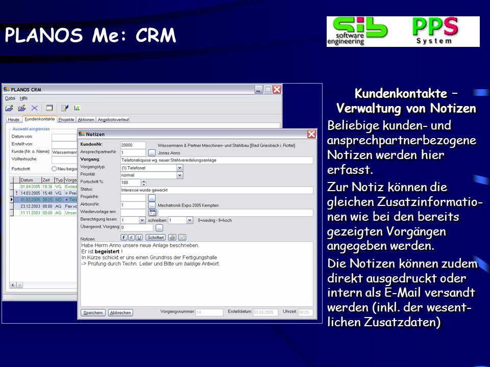 Kundenkontakte –Verwaltung von Notizen
