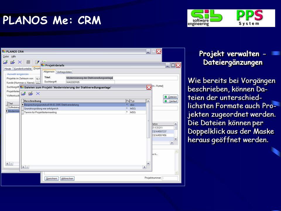 Projekt verwalten - Dateiergänzungen