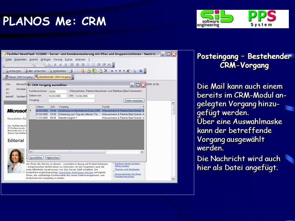 Posteingang – Bestehender CRM-Vorgang