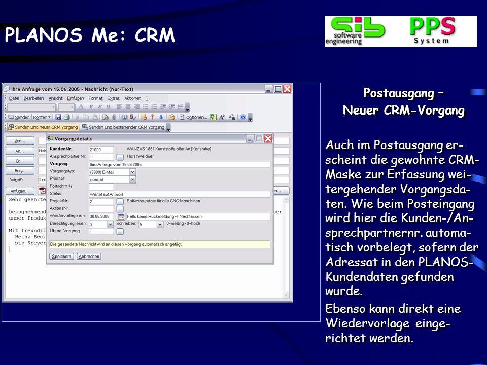 Postausgang – Neuer CRM-Vorgang.