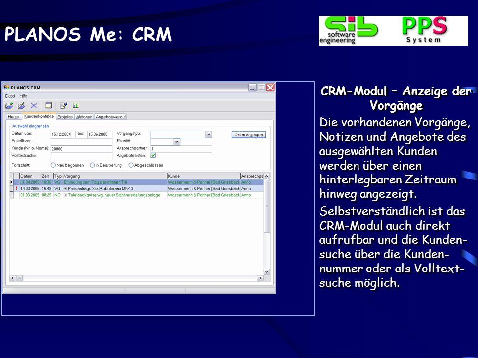 CRM-Modul – Anzeige der Vorgänge