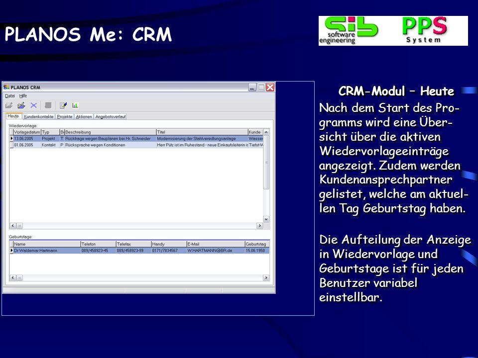 CRM-Modul – Heute
