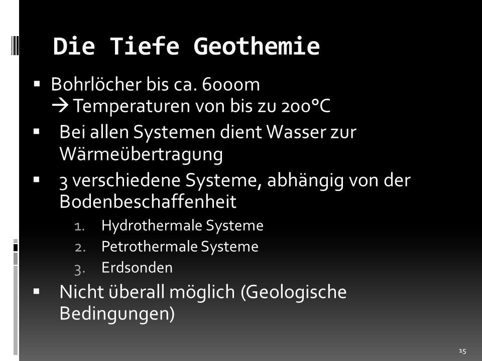 Die Tiefe Geothemie Bohrlöcher bis ca. 6000m  Temperaturen von bis zu 200°C.
