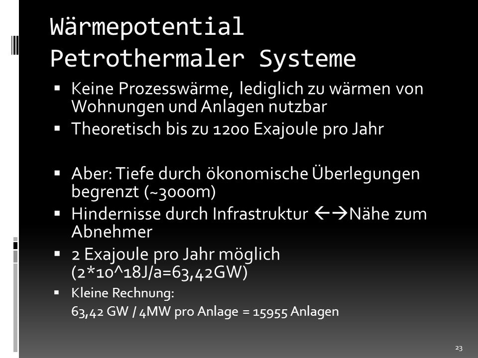Wärmepotential Petrothermaler Systeme