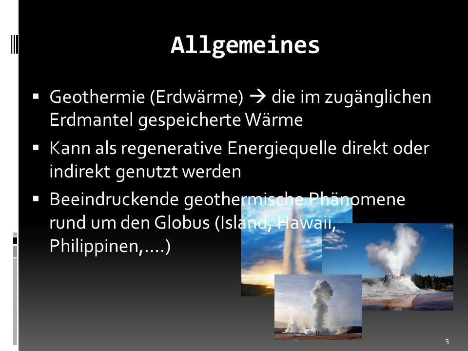 Allgemeines Geothermie (Erdwärme)  die im zugänglichen Erdmantel gespeicherte Wärme.