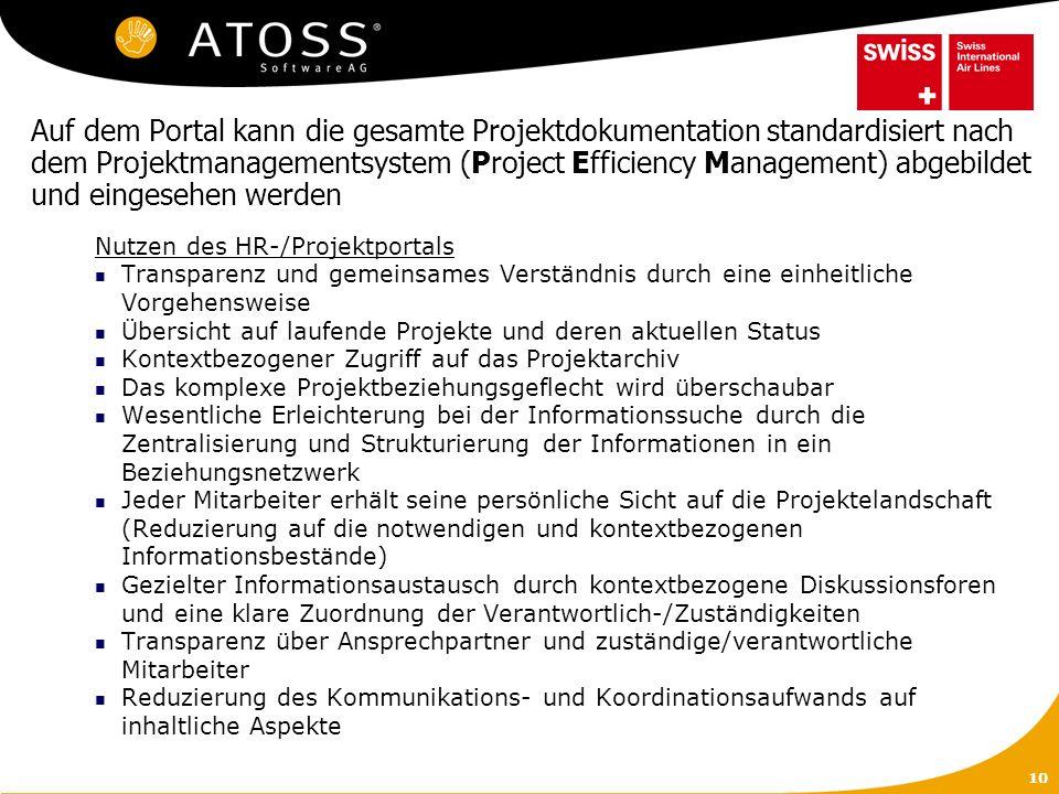 Auf dem Portal kann die gesamte Projektdokumentation standardisiert nach dem Projektmanagementsystem (Project Efficiency Management) abgebildet und eingesehen werden