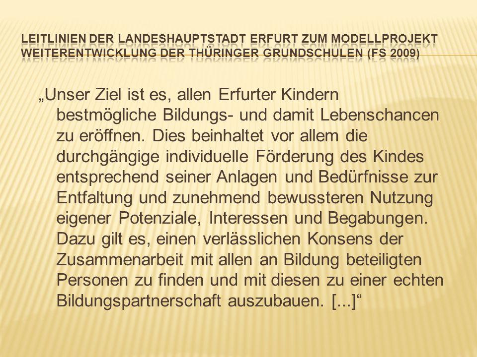Leitlinien der Landeshauptstadt Erfurt zum Modellprojekt Weiterentwicklung der Thüringer Grundschulen (FS 2009)