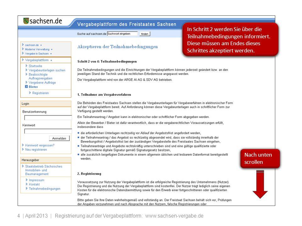 In Schritt 2 werden Sie über die Teilnahmebedingungen informiert
