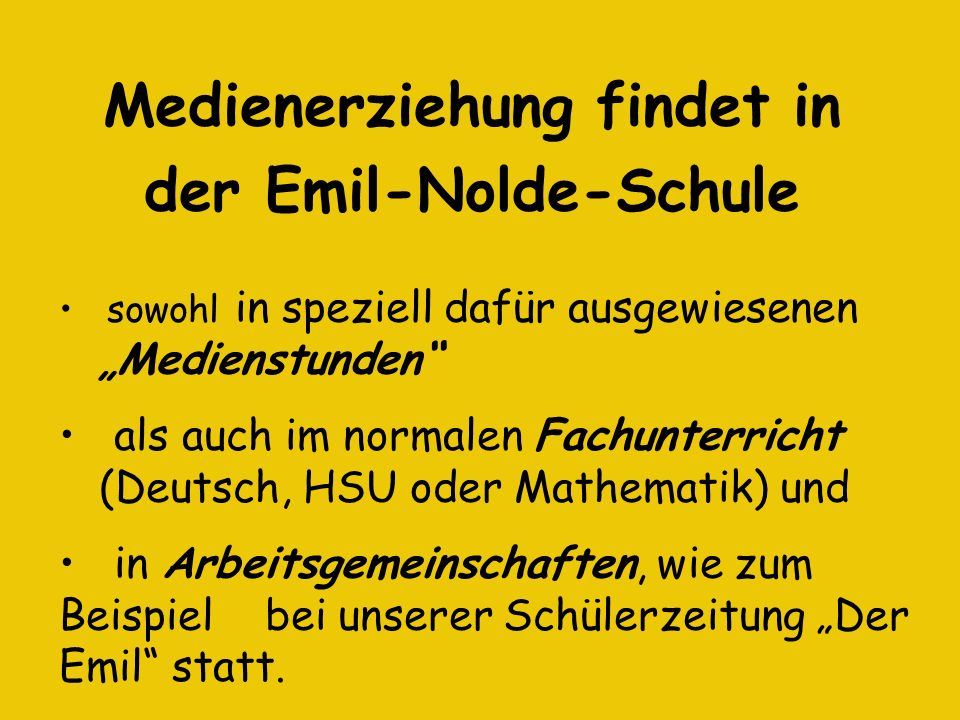 Medienerziehung findet in der Emil-Nolde-Schule