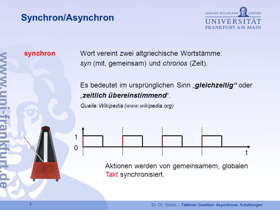 Synchron/Asynchron synchron Wort vereint zwei altgriechische Wortstämme: syn (mit, gemeinsam) und chronos (Zeit).