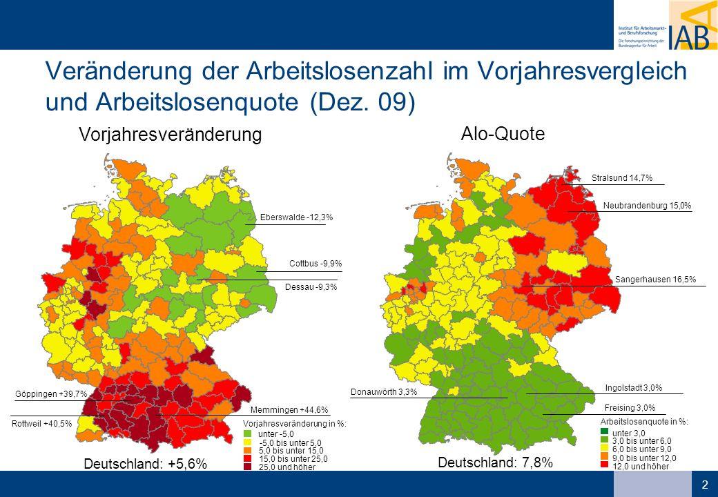 Veränderung der Arbeitslosenzahl im Vorjahresvergleich und Arbeitslosenquote (Dez. 09)