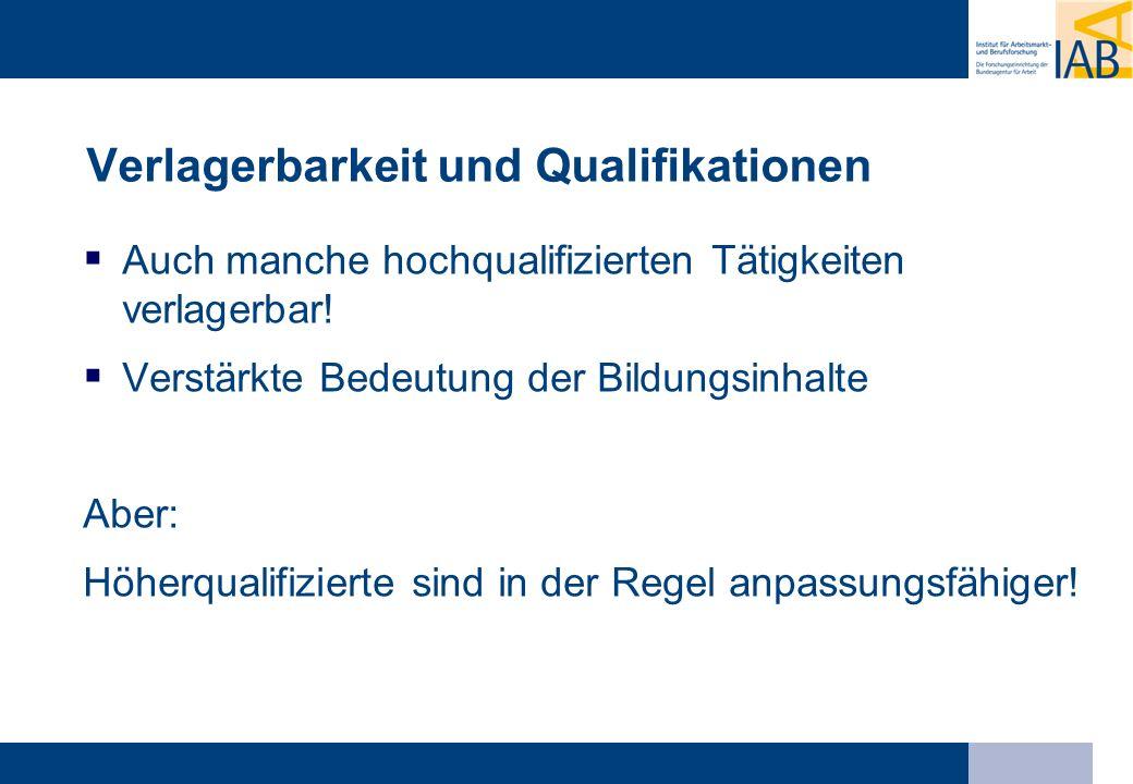 Verlagerbarkeit und Qualifikationen