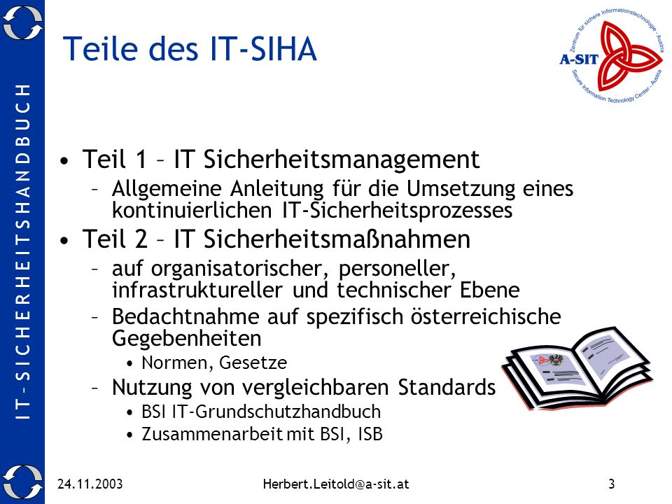 Teile des IT-SIHA Teil 1 – IT Sicherheitsmanagement