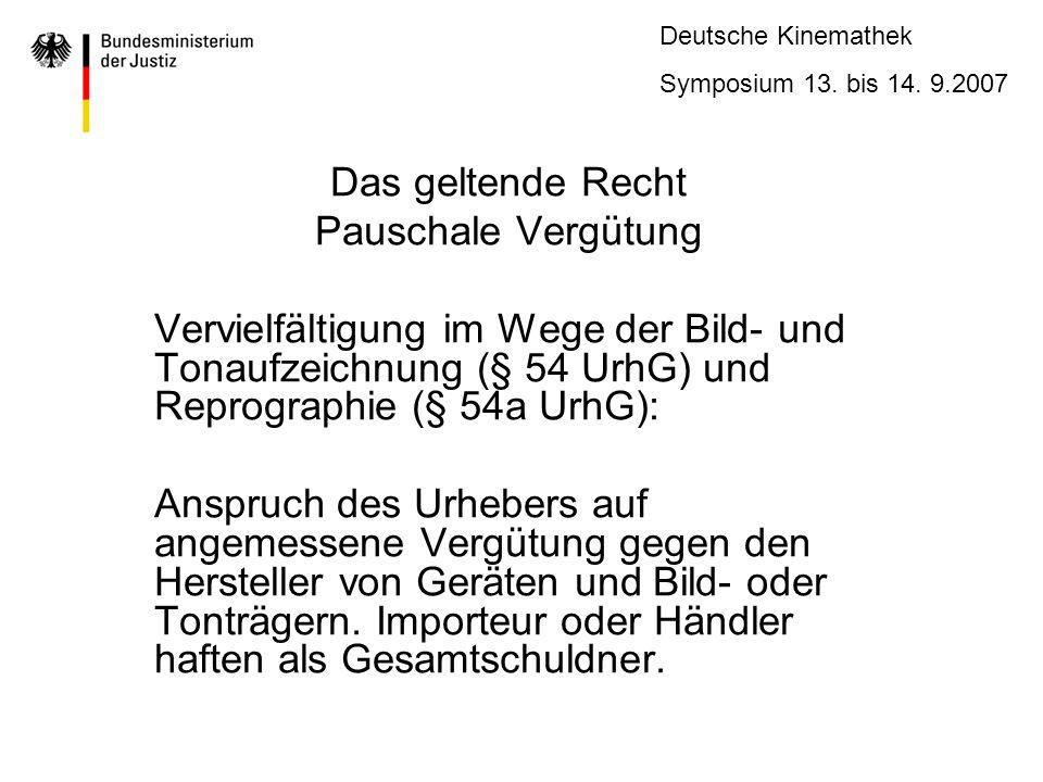 Das geltende Recht Pauschale Vergütung. Vervielfältigung im Wege der Bild- und Tonaufzeichnung (§ 54 UrhG) und Reprographie (§ 54a UrhG):