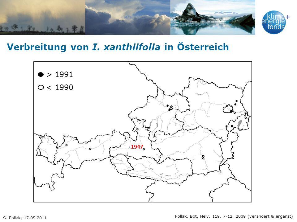 Verbreitung von I. xanthiifolia in Österreich