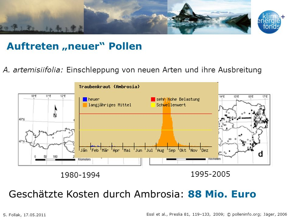 """Auftreten """"neuer Pollen"""