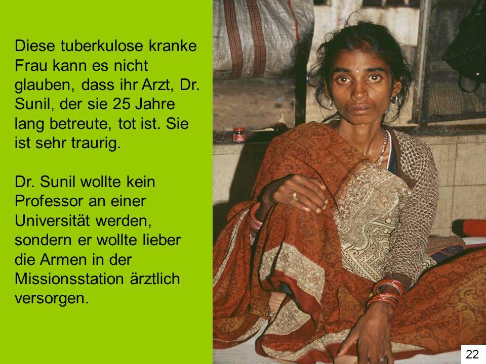 Diese tuberkulose kranke Frau kann es nicht glauben, dass ihr Arzt, Dr
