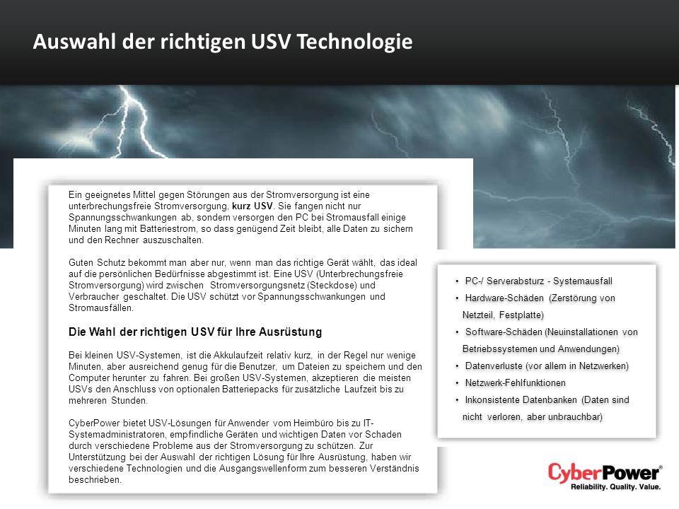 Auswahl der richtigen USV Technologie