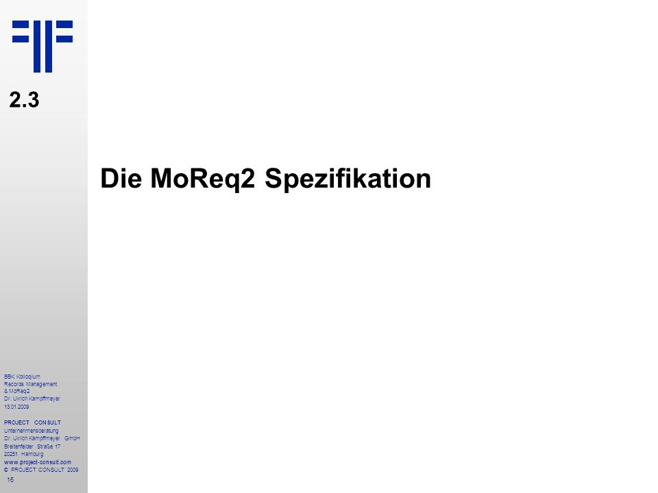 Die MoReq2 Spezifikation